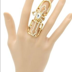 Layered Metal Cross Armour Knuckle Stretch Ring